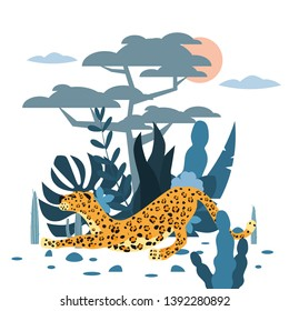 Cute leopard, plant and tree background, graphic trend style, animal predator mammal, jungle. Vector, illustration, isolated cartoon style