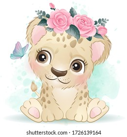 Cute leopard with watercolor effect