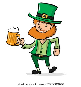 Cute leprechaun with beer celebrates St. Patrick's Day. Hand drawn cartoon illustration.