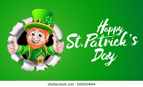 A cute Leprechaun cartoon character breaking through the background and giving a thumbs up with Happy St Patricks Day message