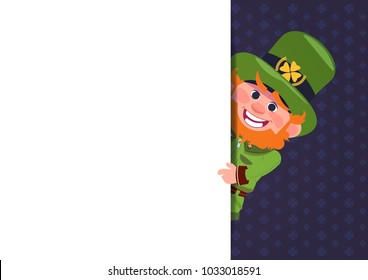 Cute Leprechaun Looking From White Template Banner St. Patricks Day Card Design Background Flat Vector Illustration