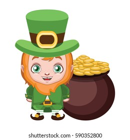 Cute leprechaun with a pot of gold behind him