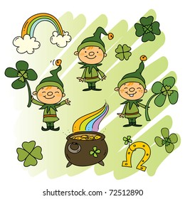 cute Leprechauns with clover