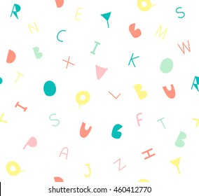 Cute letter A B C for kids design on white background pattern seamless backdrop wallpaper. Vector image