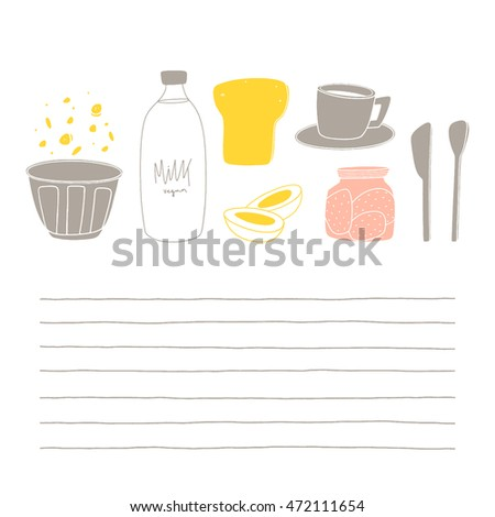 cute letter template breakfast food kitchen stock vector royalty