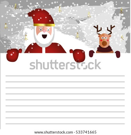 cute letter template santa claus deer stock vector royalty free