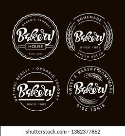 Cute lettering hand drawn doodle label art banner  - Homemade Bakery Shop Logo