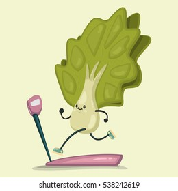 Cute Lettuce doing exercises on a treadmill. Eating healthy and fitness. Retro flat concept illustration.