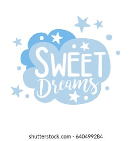Cute light blue cartoon cloud. Sweet dreams colorful hand drawn vector Illustration