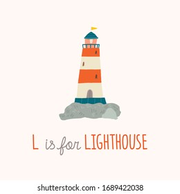 Cute lighthouse. Baby shower. Nursery art. L is for Lighthouse. Cartoon hand drawn10 illustration isolated on white background in a flat style