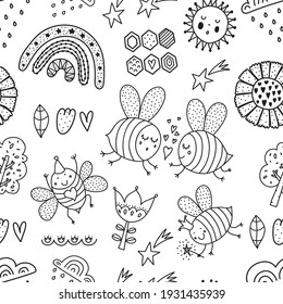 Cute line coloring pattern for kids with bees, rainbows and stars.