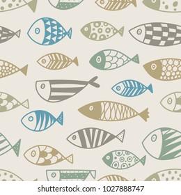 Cute line fish.  Kids background. Seamless pattern.