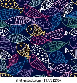Cute line fish. Vector seamless pattern.