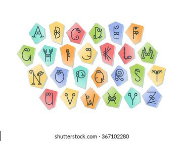 Cute Line Latin Alphabet Isolated Outline Stock Vector Royalty Free