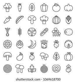 Cute line vegetable icon set