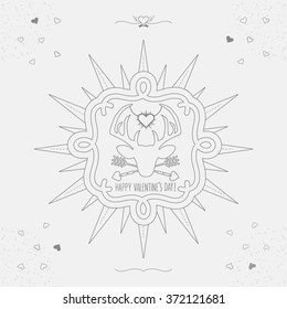 Cute Linear Happy Valentine's Day deer emblem with sunburst, hearts, and texture on gray background