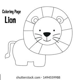 Cute Lion Outline Images Stock Photos Vectors Shutterstock Lion face outline lion face outline tattoo best photos of lion outline. https www shutterstock com image vector cute lion animal coloring page pre 1494559988