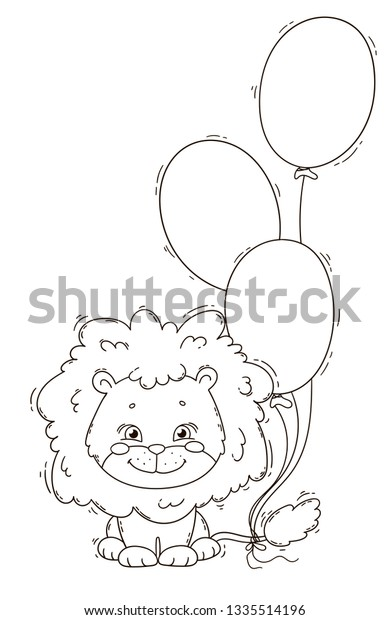 Cute Lion Balloons Coloring Page Book Stock Vector (Royalty ...
