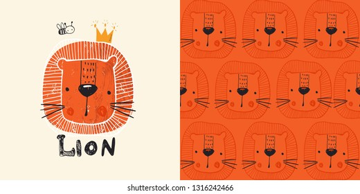 Cute lion with bee . hand drawn color character. with seamless pattern.Can be used for t-shirt print, kids wear fashion design, baby shower invitation card. - Vector