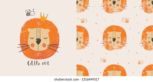 Cute lion with bee . hand drawn color character with seamless pattern. Can be used for t-shirt print, kids wear fashion design, baby shower invitation card. - Vector