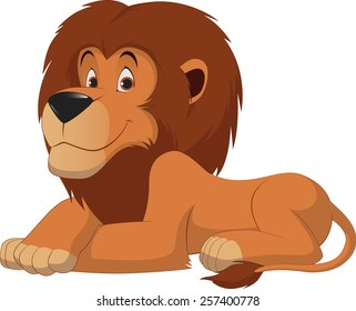 Lion cartoon on happy cartoon mouth