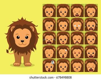 Cute Lion Cartoon Emotion faces Vector Illustration
