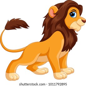 Cute lion cartoon isolated on white background