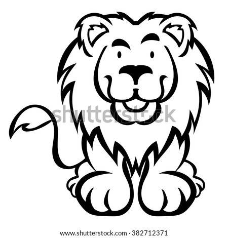 Cute Lion Cartoon Isolated On White Stock Vector (Royalty ...