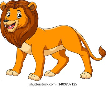Cute lion cartoon on white background