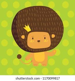 Cute lion children illustration. Adorable king animal character print design