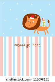 cute lion in christmas day