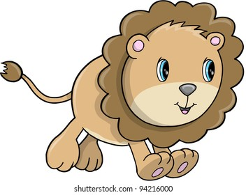Cute Lion Cub Animal Safari Wildlife Vector Illustration Art