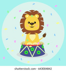 Cute lion cub sitting on a curbstone in a circus, against a background of falling candy. Cute lion cub sitting on a curbstone in a circus/A lion cub on a curbstone in a circus.