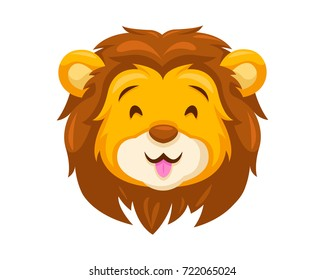 Cute Lion Face Emoticon Emoji Expression Illustration - Happy