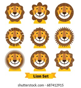 Cute lion face icon, logo, symbol. Vector illustration isolated on a white background