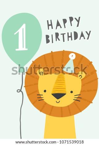cute lion first birthday greeting card のベクター画像素材