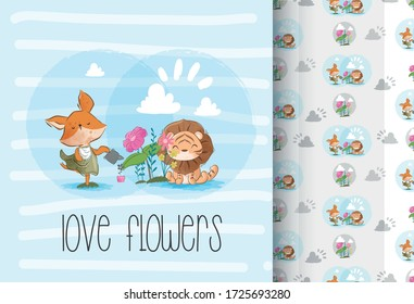 Cute lion and fox love flowers
