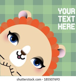 Cute lion head - vector illustration