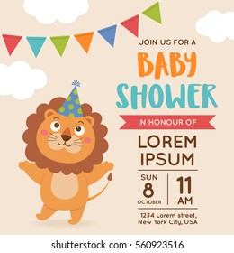 Cute lion illustration for baby shower invitation card design template