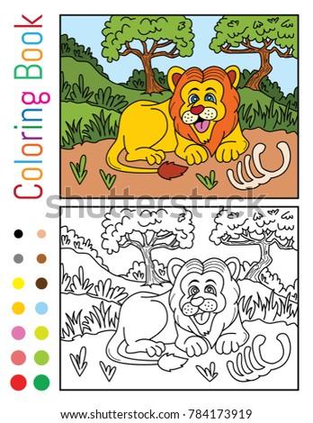 Cute Lion Jungle Coloring Book Vector Stock Vector (Royalty Free ...