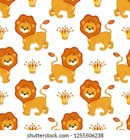 Cute lion king seamless pattern. Vector illustration.