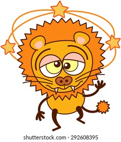 Cute lion in minimalistic style with rounded ears, bulging eyes, sharp teeth and tufted tail while showing yellow stars turning around its head, walking unsteadily, keeping balance and feeling dizzy