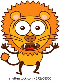 Cute lion in minimalistic style with rounded ears, bulging eyes, sharp teeth and long tufted tail while widely opening its bulging eyes, raising its arms and expressing surprise and fear