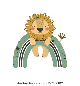 Cute lion on rainbow. Use this clipart to create baby shower invites, nursery art, birthday decor, greeting cards, children's clothing. Vector illustration.