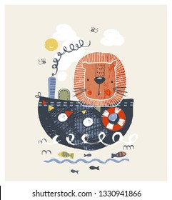 Cute lion on the ship cartoon hand drawn vector illustration. Can be used for baby t-shirt print, fashion print design, kids wear, baby shower celebration greeting and invitation card.