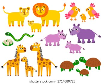 Cute lion and parrot, snake and rhino, giraffe and turtle families. Cartoon African wild animals in childlike flat style isolated on white background. Vector illustration.