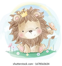 Cute lion playing with butterfly