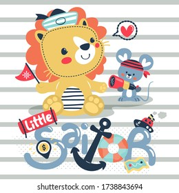 Cute lion and rat in sailor costume sitting on striped background illustration vector, Print for children wear.