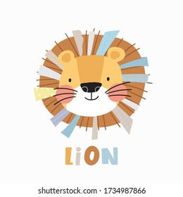 Cute Lion - Vector Character for Baby Shower. Cute vector illustration kids - lion. Ideal print for fabrics, textiles and gift wrapping