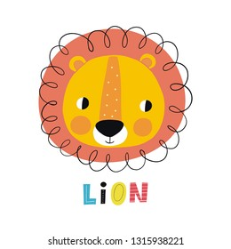 Cute Lion vector illustration. Fun Lion print for birthday or Baby Shower party. Cutie Lion cartoon hand drawn Character